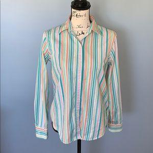 RALPH LAUREN cotton button down multi color M